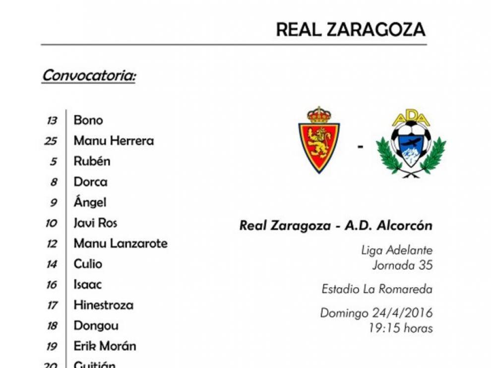 Convocatoria oficial del Real Zaragoza para el partido frente al Alcorcón