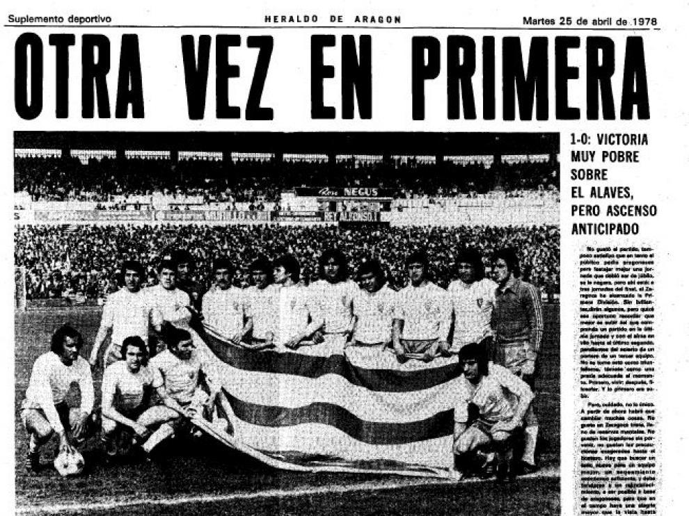 Portada del suplemento de Deportes de Heraldo de Aragón en el que se narraba el ascenso del Real Zaragoza Primera en medio de los actos del 23 de abril de 1978.