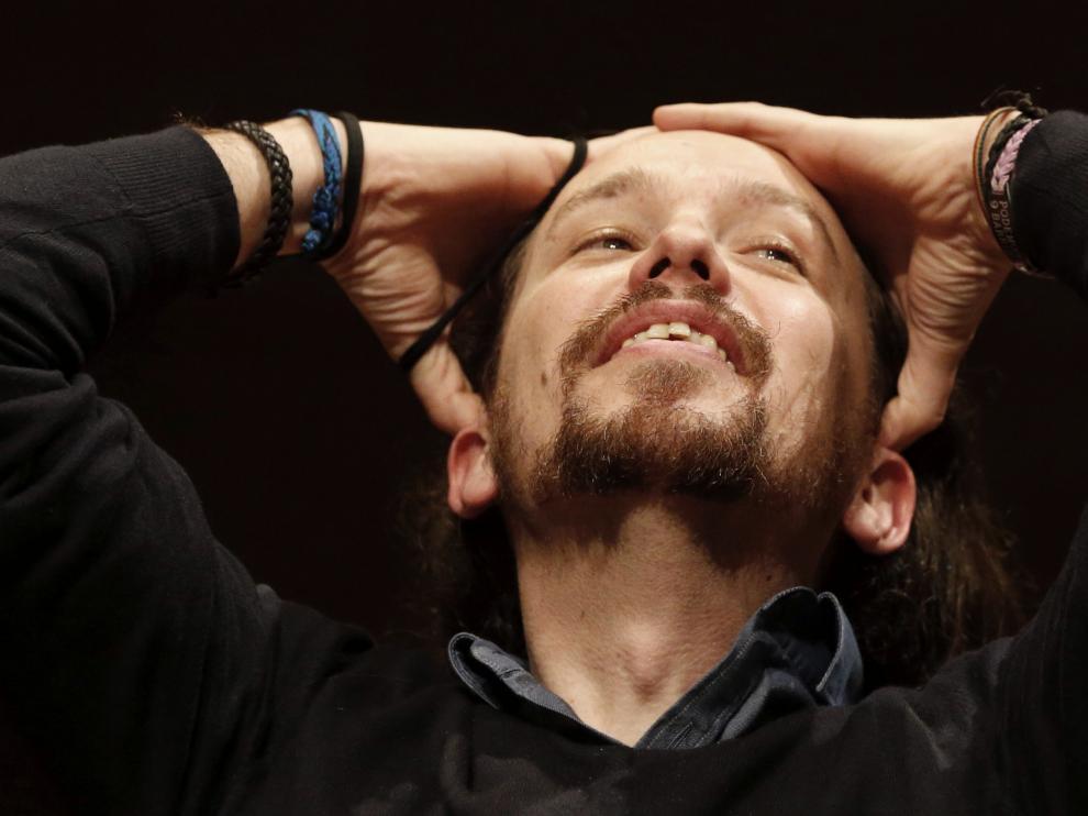 El líder de Podemos, Pablo Iglesias, durante la presentación del libro 'En defensa del populismo' de Carlos Fernández Liria,