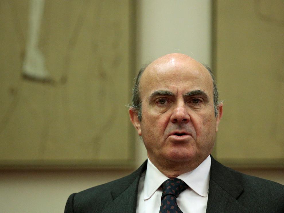 El ministro de Economía en funciones, Luis de Guindos, en el Parlamento en Madrid.