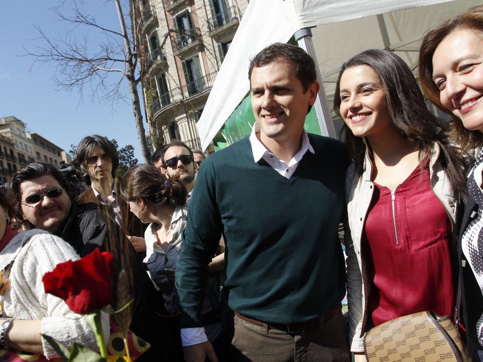 El presidente de Ciudadanos, Albert Rivera, y la líder en Cataluña, Inés Arrimadas