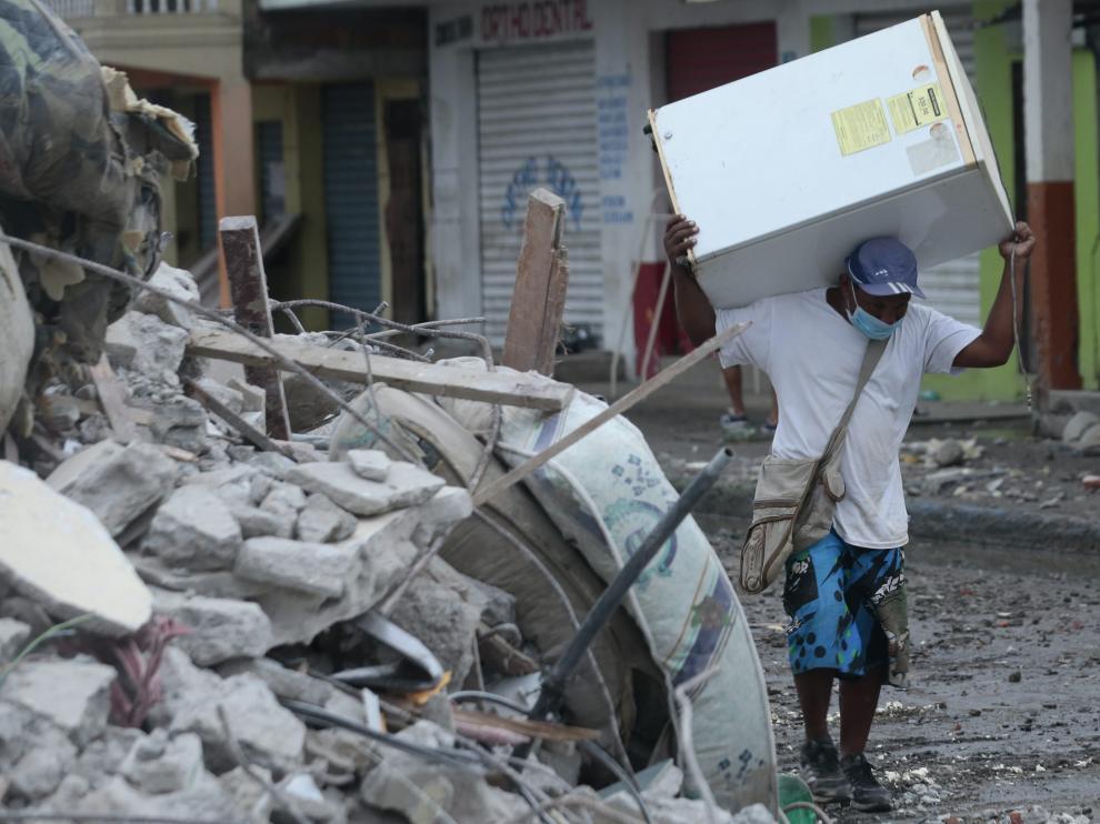 La localidad de Pedernales una semana después del terremoto.