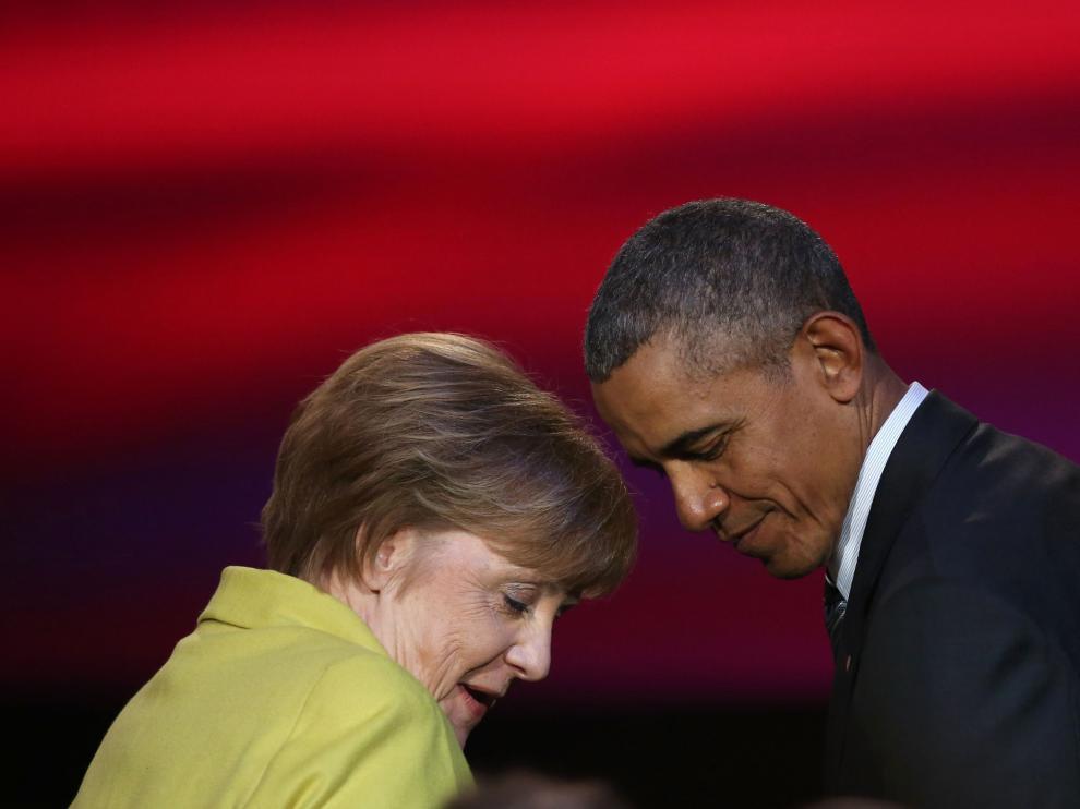 Agela Merkel y Barack Obama durante la ceremonia de Hannover.