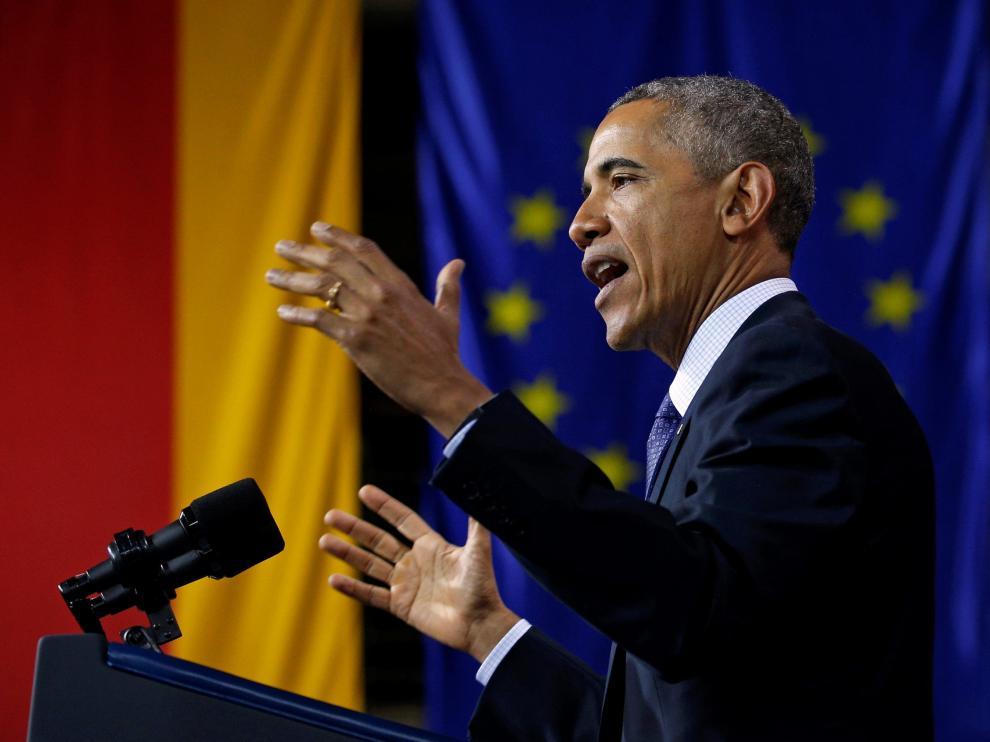 El presidente de EE.UU., Barack Obama, en un discurso durante su visita a Hanover, Alemania.