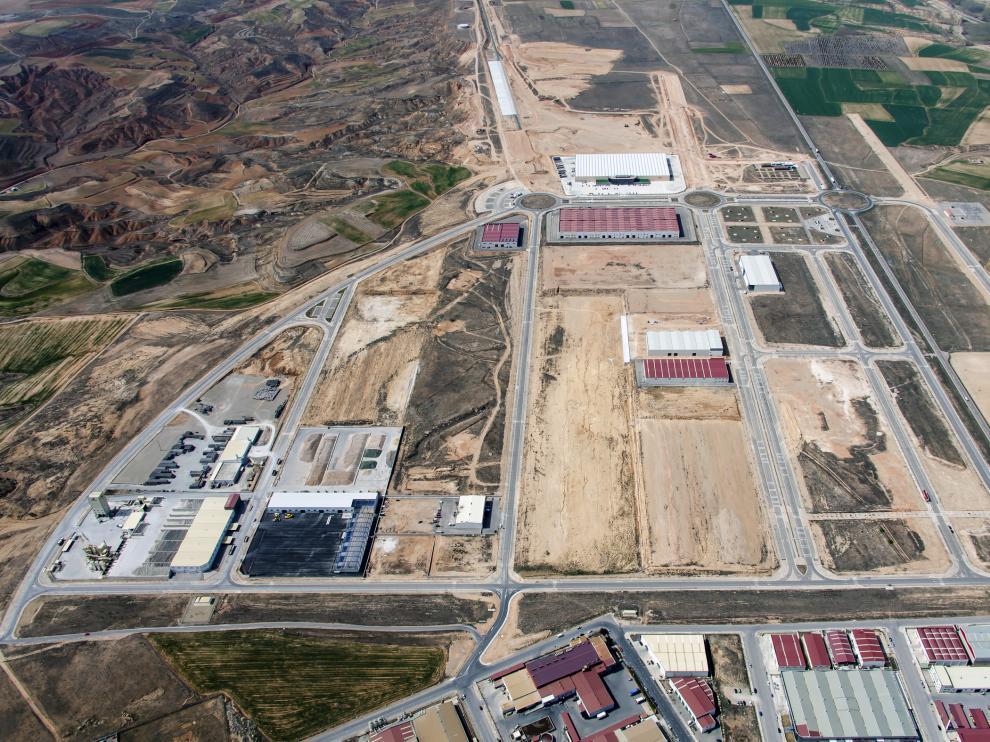 Vista aérea de la Plataforma Logística de Teruel, Platea, que se extiende sobre 139 hectáreas.