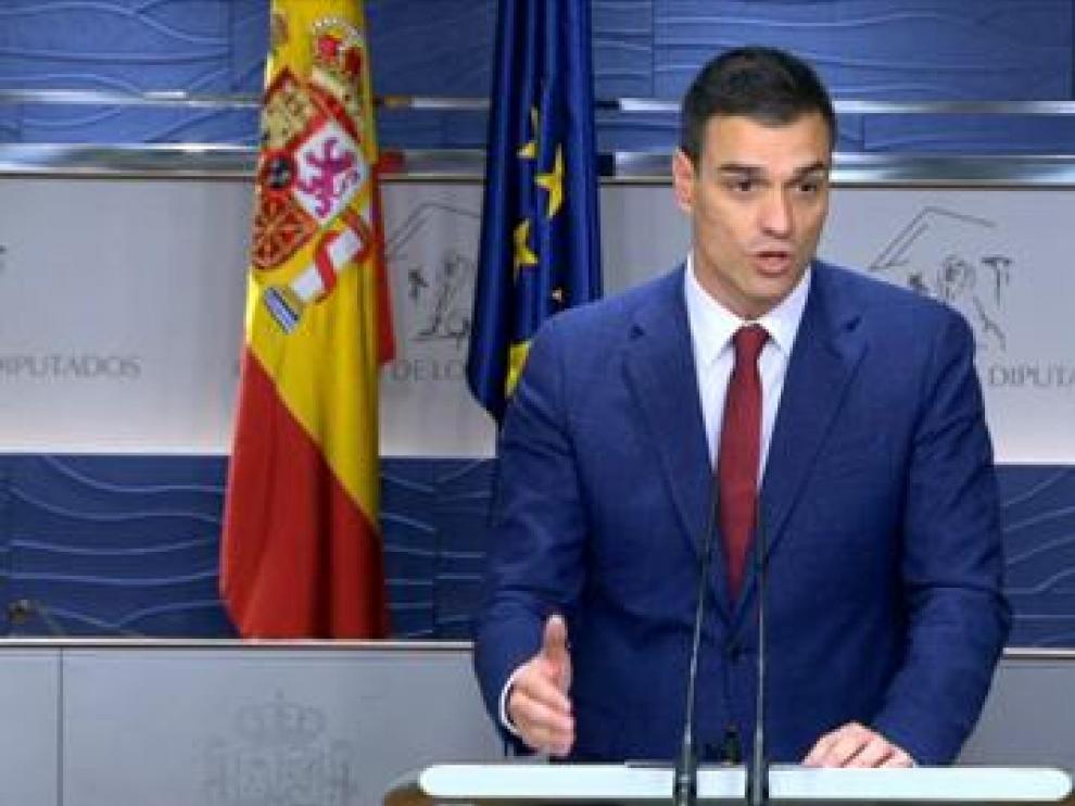 Pedro Sánchez, este martes tras la reunión con el Rey.