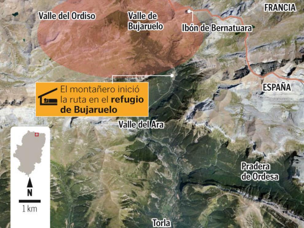 Este gráfico muestra la zona en la que pudo desaparecer el montañero de Huesca.