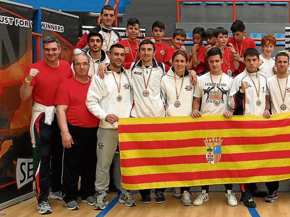 Los luchadores aragoneses, el pasado domingo en Salamanca.