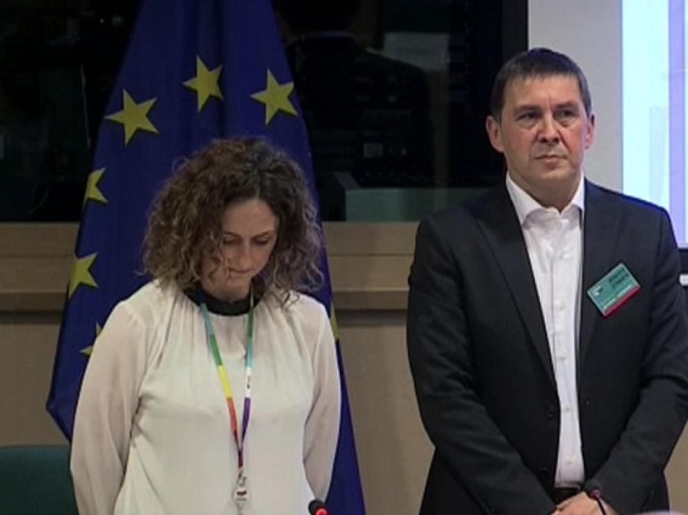 Arnaldo Otegi en su visita al Parlamento Europeo.