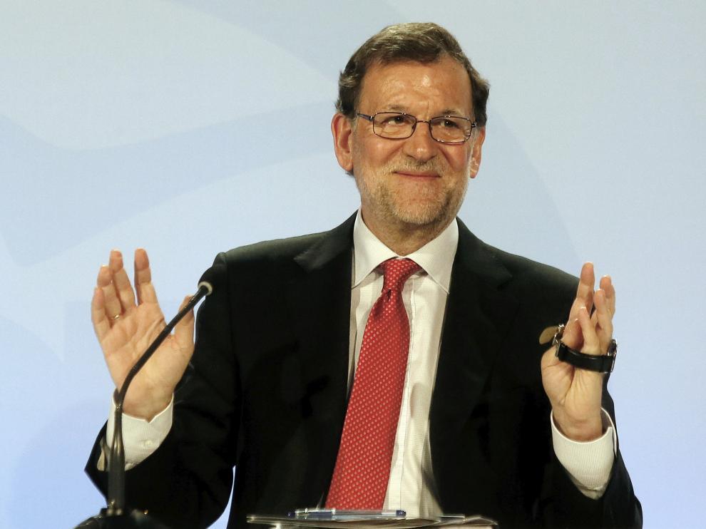 Mariano Rajoy durante la clausura de una conferencia con los portavoces parlamentarios de su partido en España.