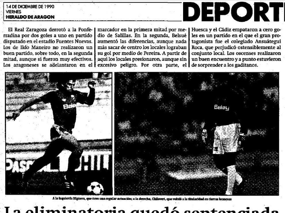 Página de Heraldo con la crónica del Ponferradina-Real Zaragoza (1-2) jugado en diciembre de 1990 en una eliminatoria de Copa.
