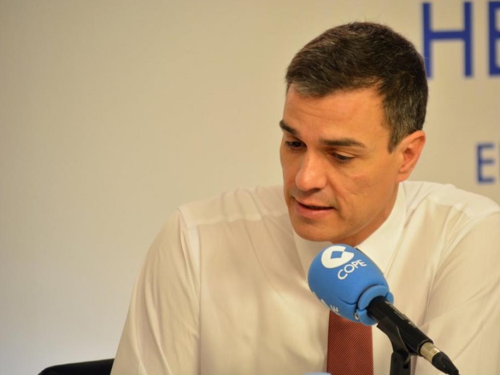 Pedro Sánchez durante la entrevista en Cadena Cope.