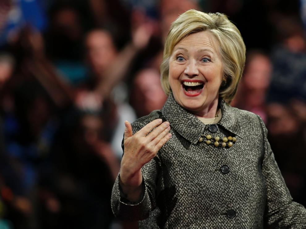 Hillary Clinton, durante la noche electoral en Filadelfia.