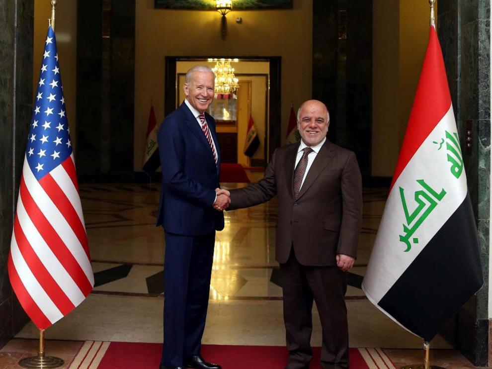 Biden junto al primer ministro de Iraq