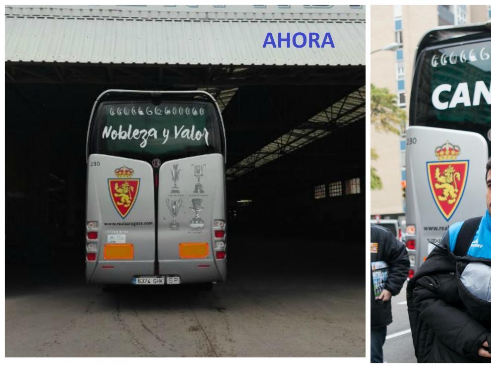 A la izquierda, el nuevo aspecto de la trasera del autocar del Real Zaragoza. A la derecha, tal y como estaba hasta ahora.