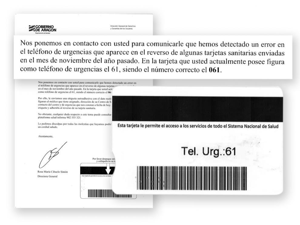 El fallo en el reverso de la tarjeta. Sanidad se ha dado cuenta del error en 35.000 tarjetas y ha enviado cartas advirtiéndole de esta circunstancia. En esta misma misiva, ha adjuntado una pegatina adhesiva con el teléfono correcto.