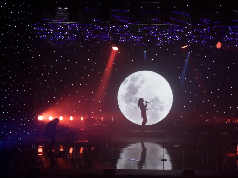 Amaral, durante su concierto este jueves por la noche en Pozoblanco.