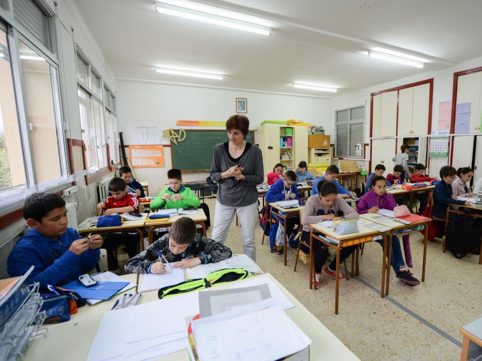 Aula de un centro educativo aragonés.