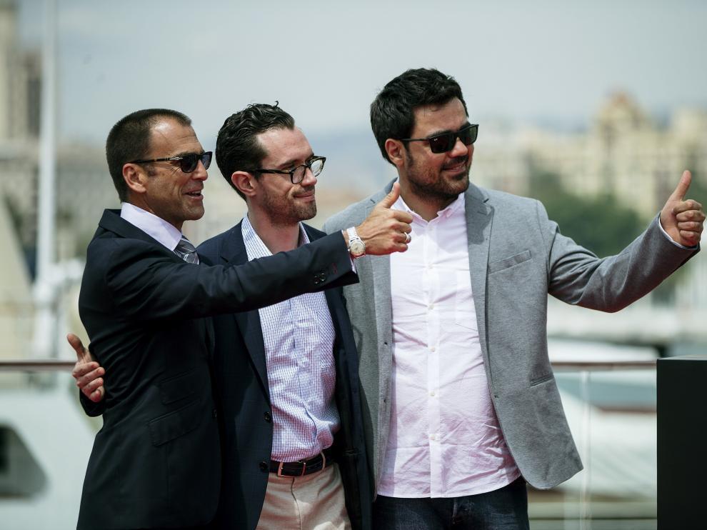 El director Carles Torras y los actores Martin Bacigalupo y Timothy Gibbs, en la presentación de 'Callback'