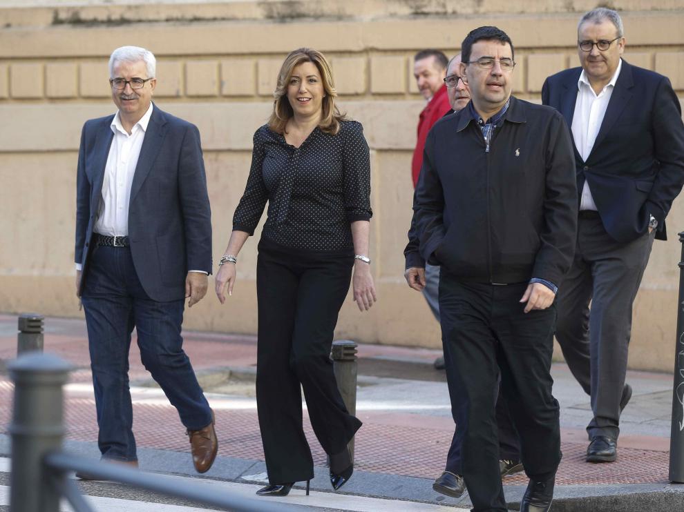 Susana Díaz, a su llegada al comité federal del PSOE