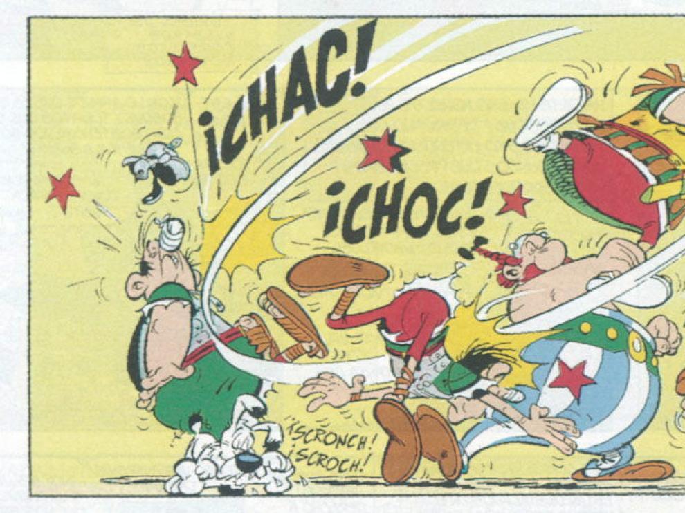 Astérix y Obelix, en una de sus clásicas peleas con las tropas romanas.