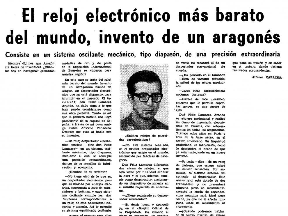 Noticia publicada en Heraldo de Aragón por Alfonso Zapater el 7 de mayo de 1976.