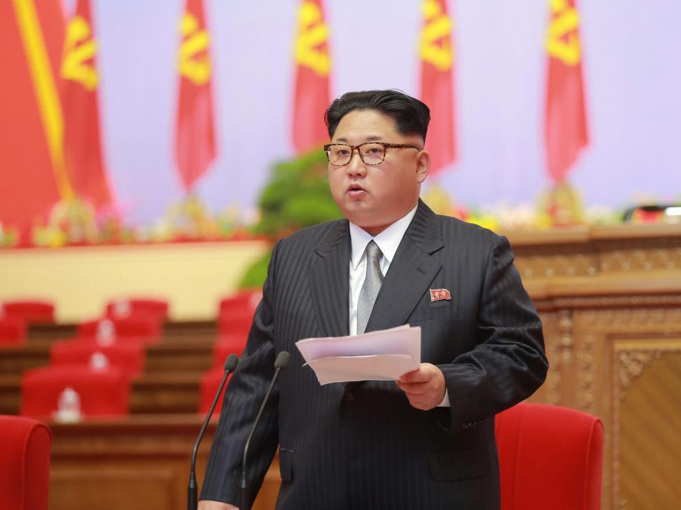 Kim Jong-un en el Congreso del Partido de los Trabajadores