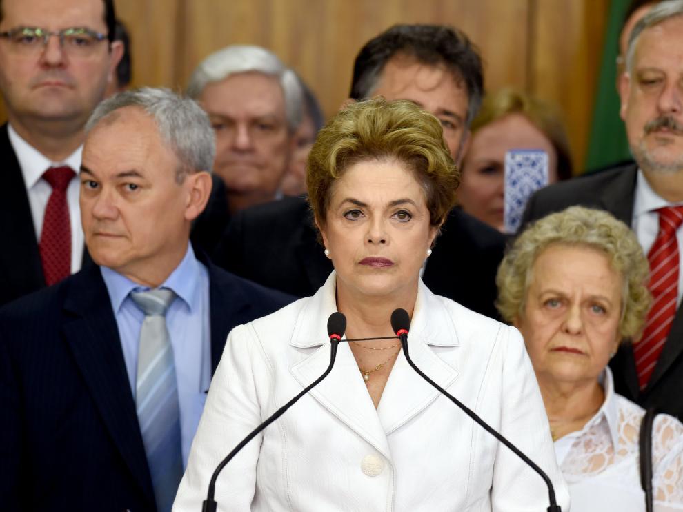 Dilma Rousseff tras ser suspendida de su cargo por el Senado.