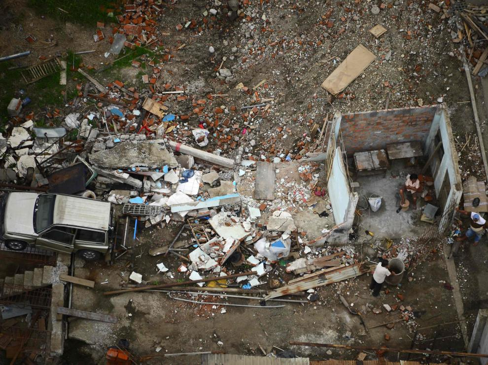 Vista aérea de Pedernales, un mes después del terremoto que asoló la ciudad.