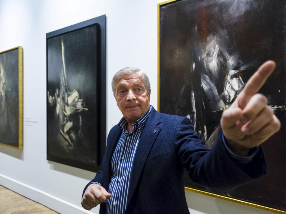 Javier Lacruz, en la exposición de Sástago