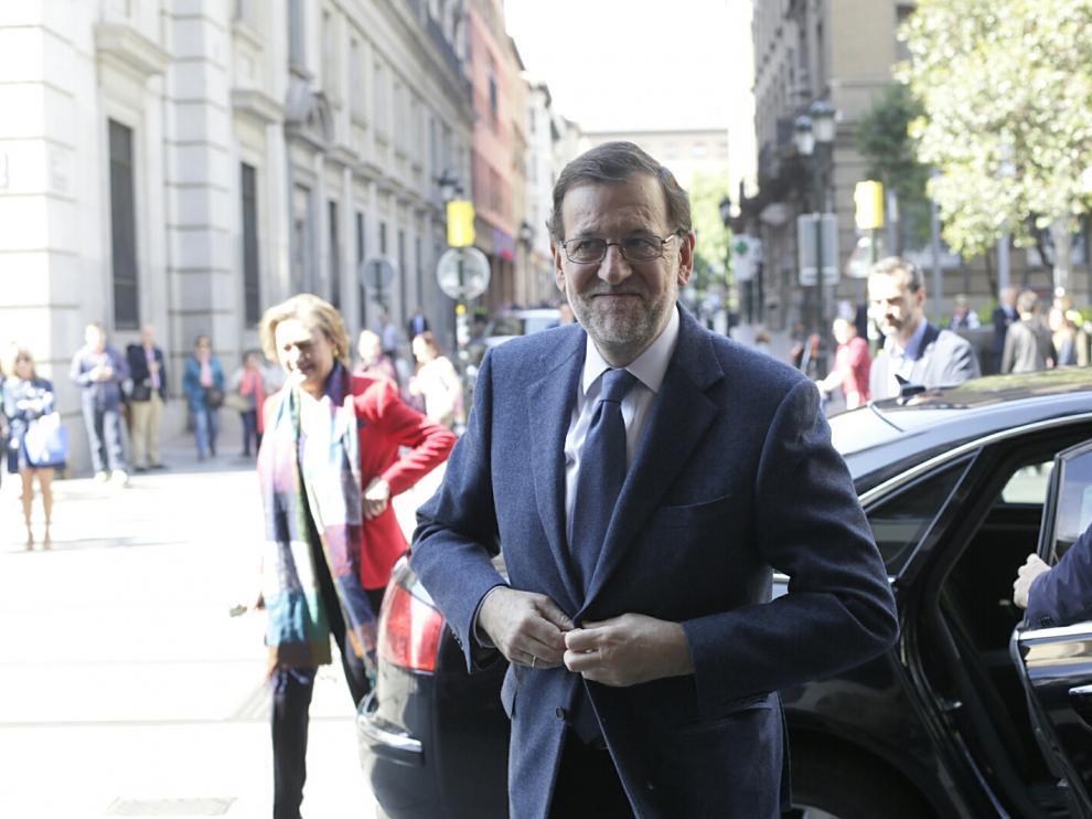 Mariano Rajoy, durante su visita a Zaragoza