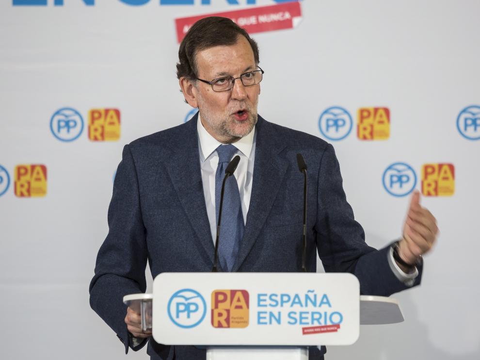 Mariano Rajoy, este miércoles en Zaragoza