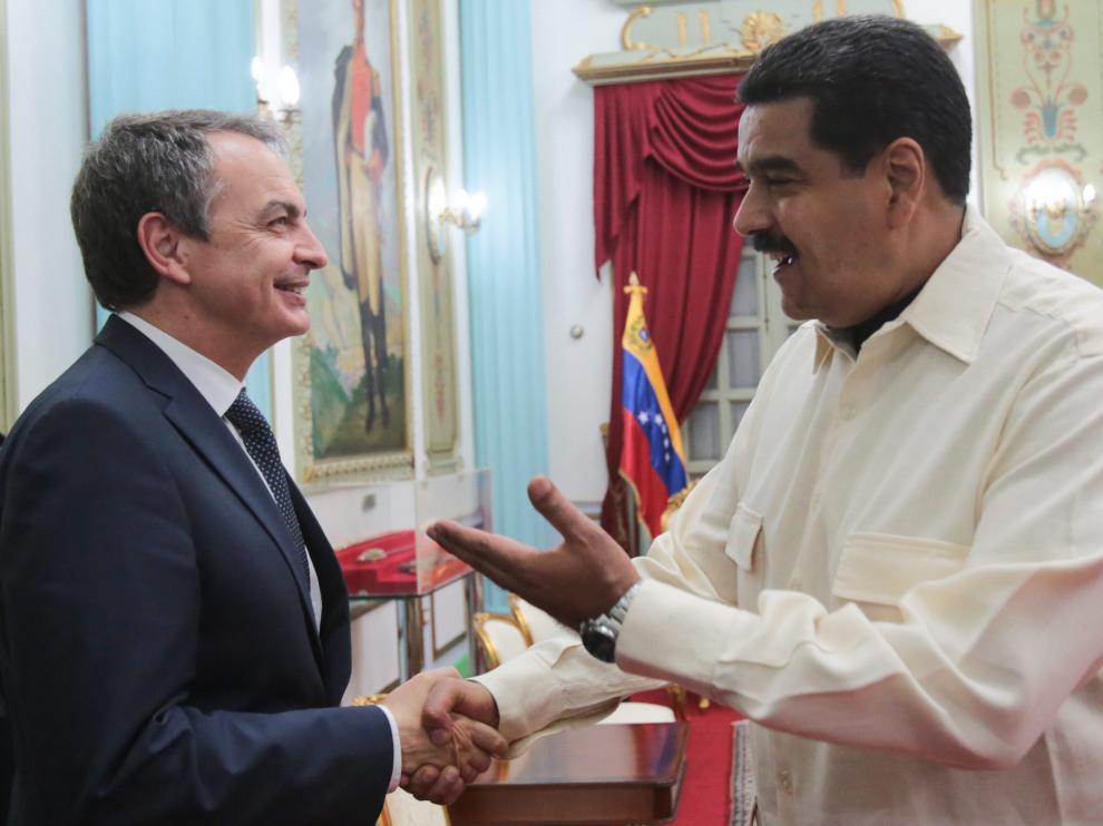 Zapatero durante su reunión con Maduro en Venezuela.