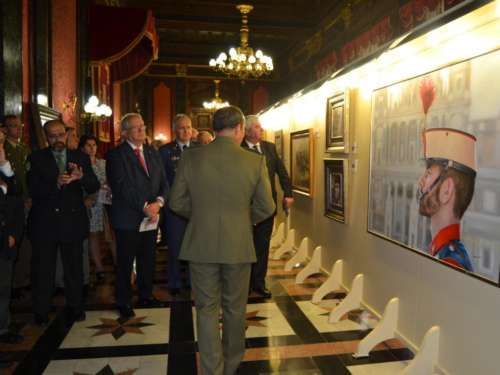 Inauguración de la exposición en el Palacio de la Capitanía General de Aragón en Zaragoza.