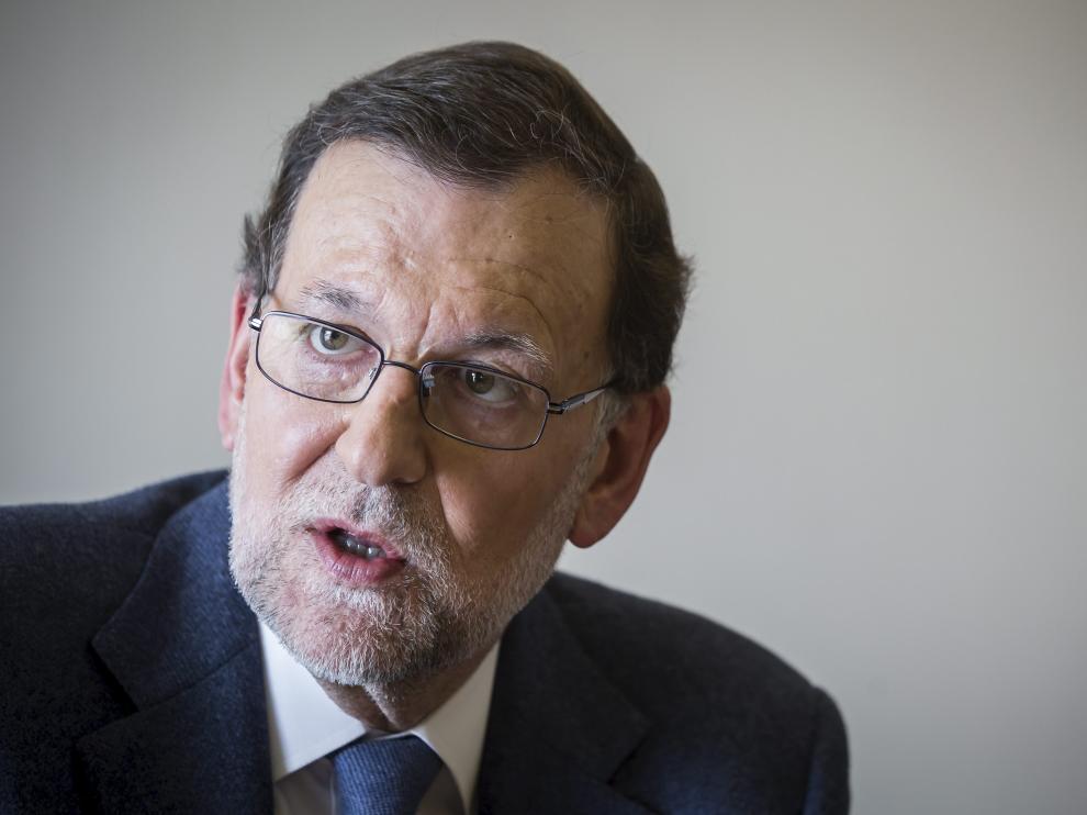 El presidente en funciones del Gobierno de España y líder del PP, Mariano Rajoy, durante la entrevista.