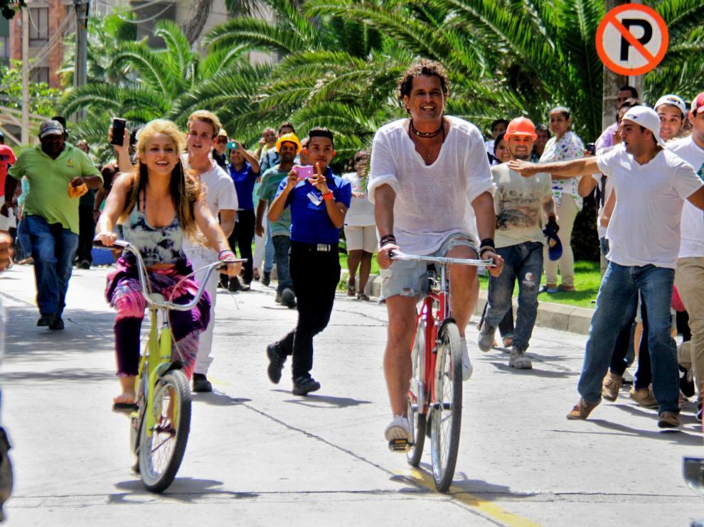 Shakira y Carlos Vives durante la grabación del vídeo.