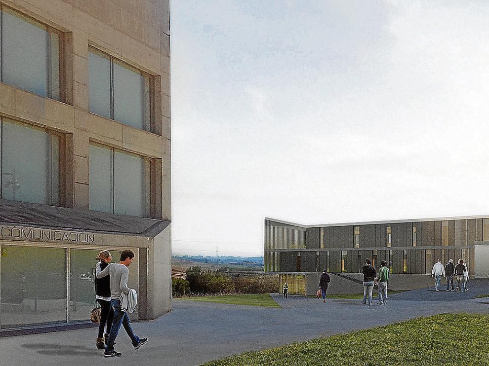 Recreación del exterior de la nueva edificación del centro privado, que se ubicará a la derecha de la facultad de Comunicación.