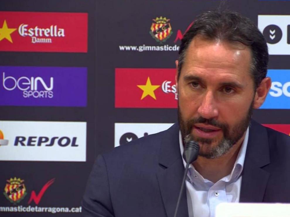 Vicente Moreno, entrenador del Nástic de Tarragona, en rueda de prensa.