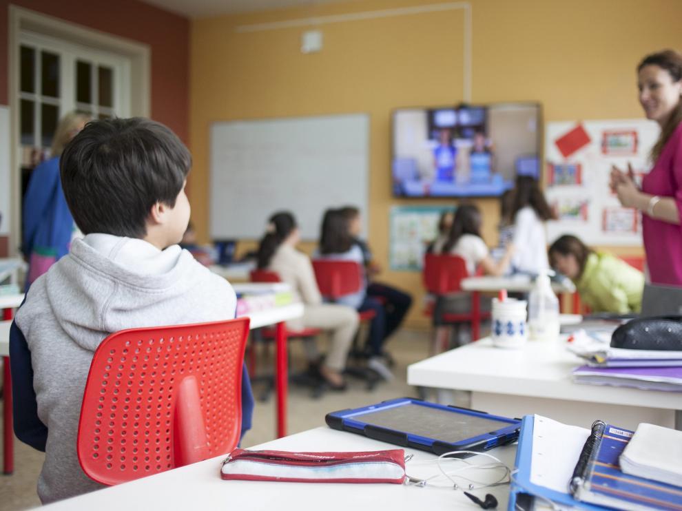 Un aula del colegio San Gabriel de Zuera.
