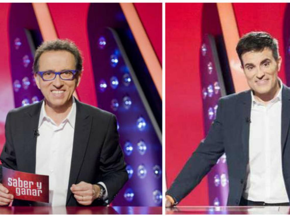 Jordi Hurtado y Luis Larrodera en el plató de 'Saber y ganar'.
