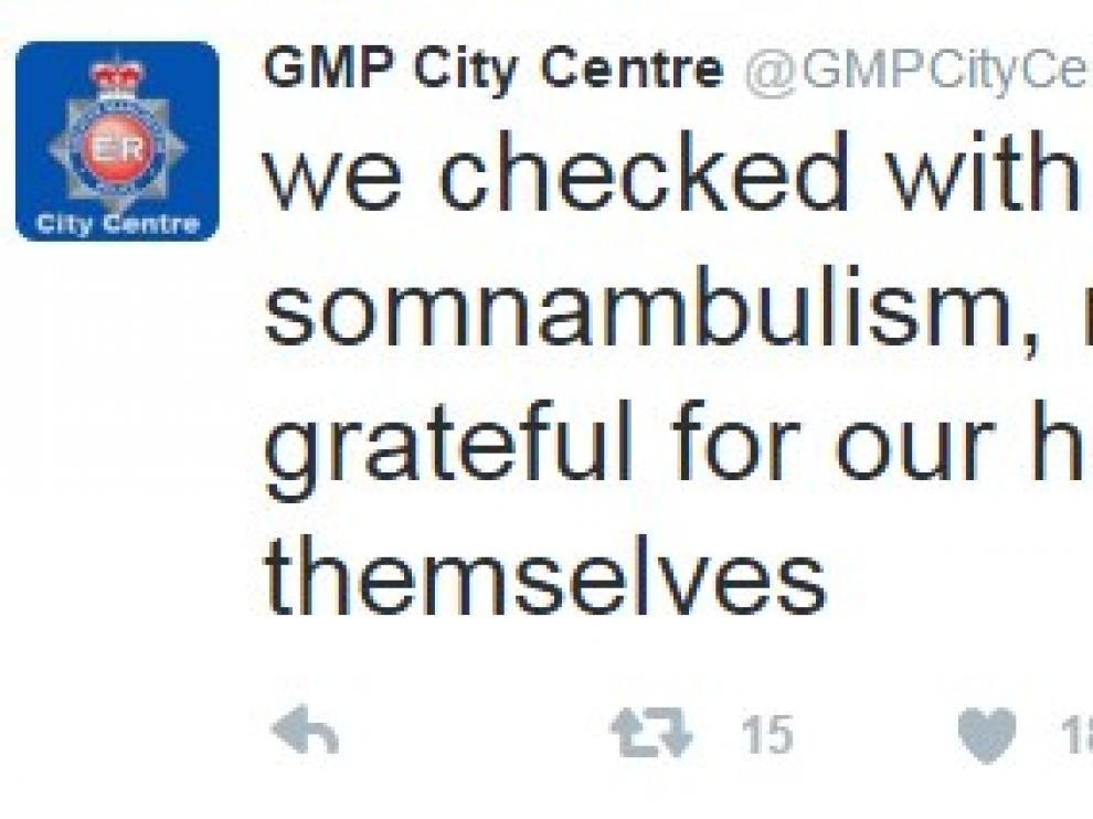 """La Policía de Manchester """"rescata"""" a un sonámbulo"""