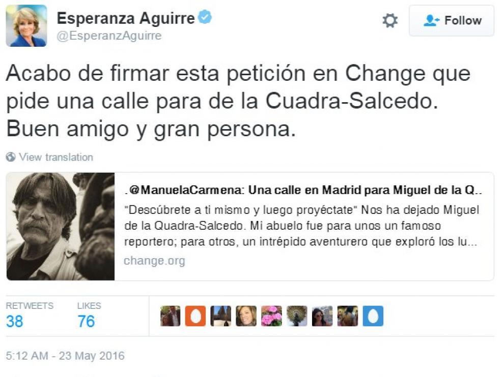 Esperanza Aguirre se ha sumado a la iniciativa en Change.org para que De la Quadra-Salcedo tenga una calle en Madrid.