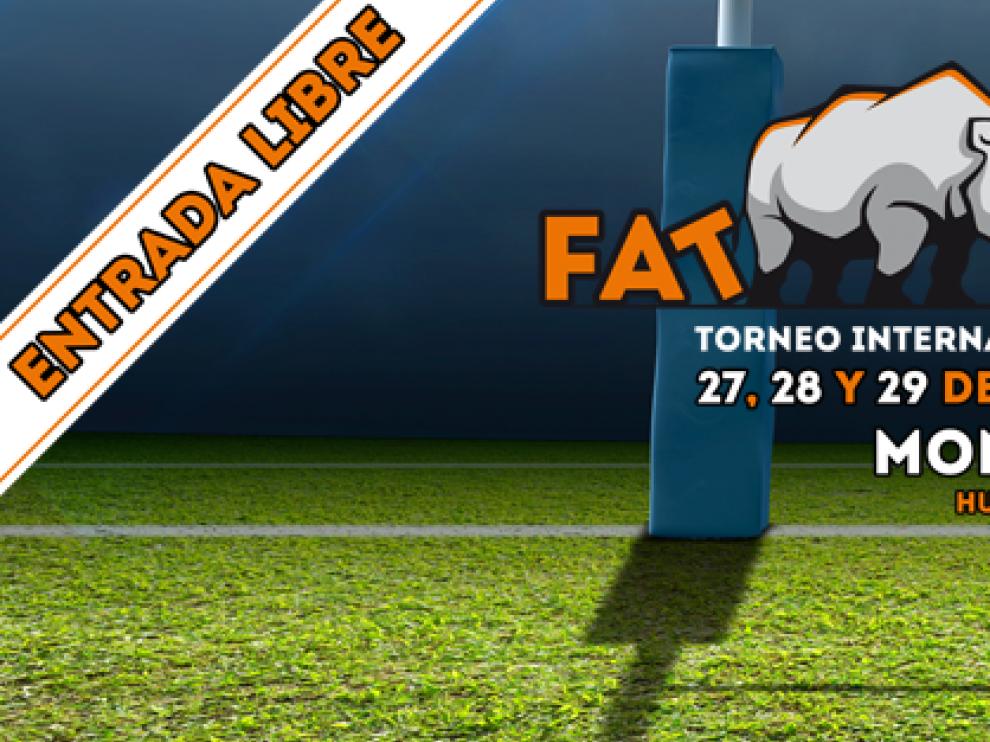 Cartel del I torneo 'Fat rugby' en Monzón.