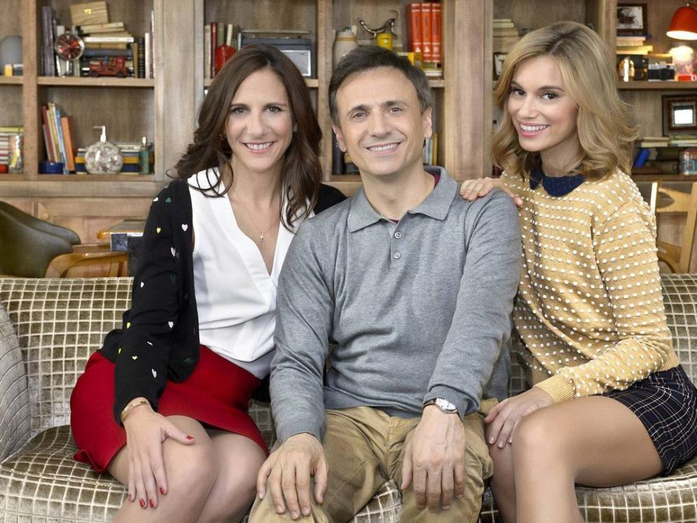 Malena Alterio, José Mota y Norma Ruiz en el rodaje de 'El hombre de tu vida'.