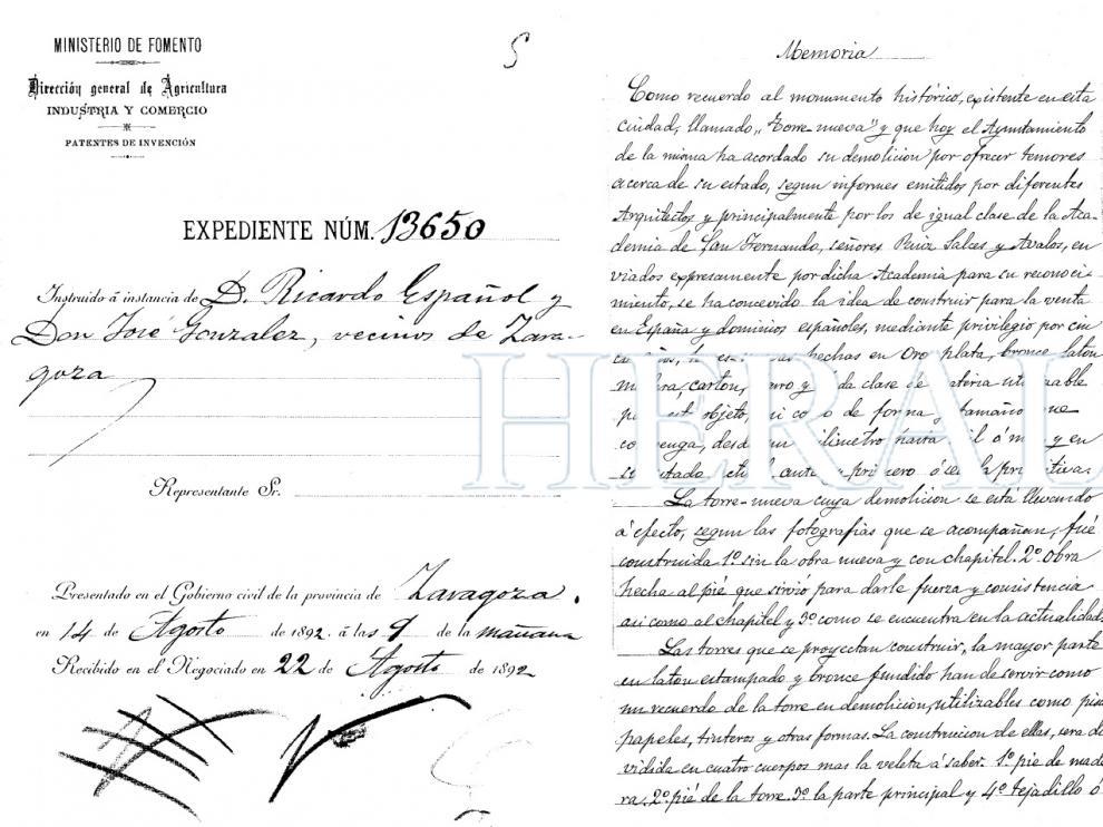 El expediente de la patente, fechada el 14 de agosto de 1892