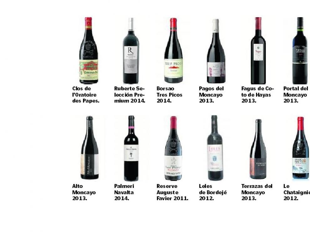 Los vinos de la cata, por orden de degustación.