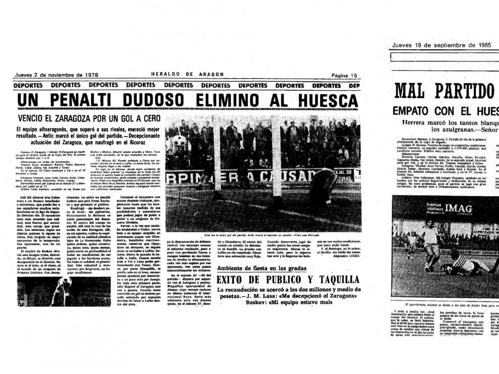 Crónicas de los dos partidos de Copa jugados por el Real Zaragoza en Huesca, en 1978 y 1985.