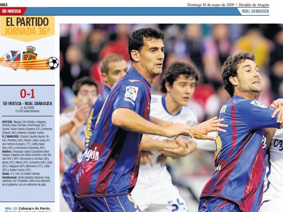 Primera página de la sección de Deportes de Heraldo de Aragón con el arranque de la crónica del partido jugado en mayo de 2009.