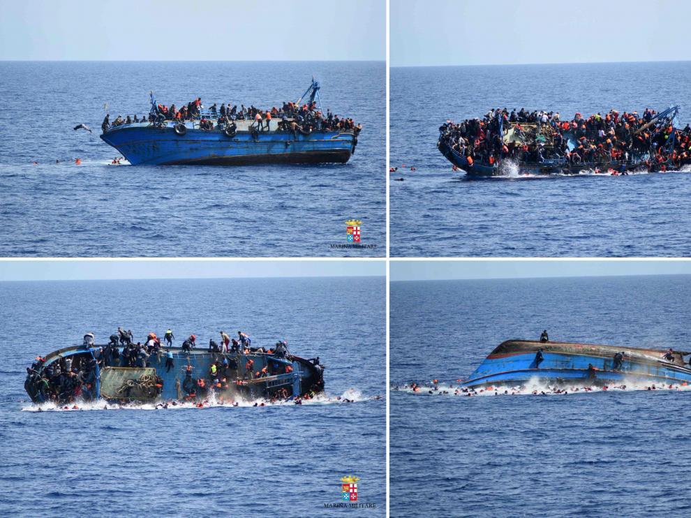 Secuencia de imágenes que muestra cómo volcó la embarcación frente a las costas de Libia.