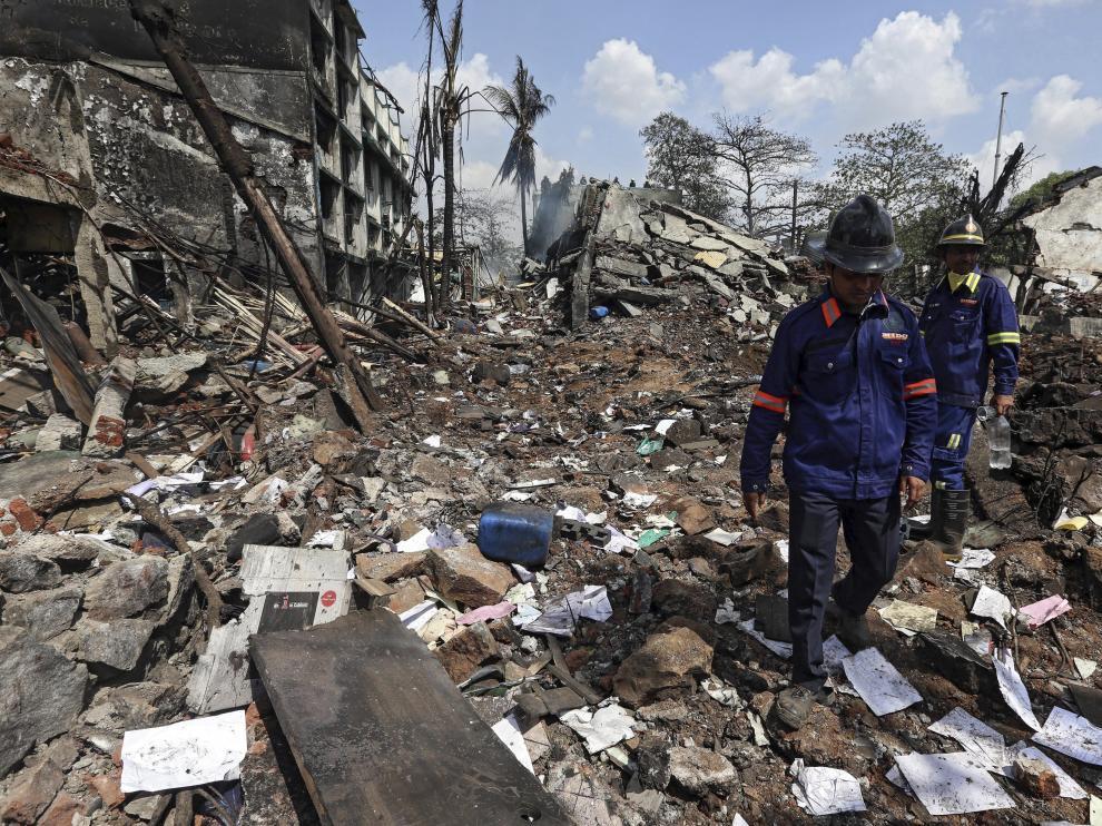 El lugar quedó devastado por la explosión.